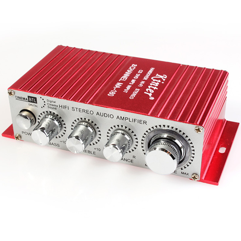 TECKEPIC Kinter MA-180 DC12V 2-CH Mini Hi-Fi AMP Stereo USB Araç Tekne Ses Auto Power Amplifikatör Destek DVD/MP3/ipod Girişi