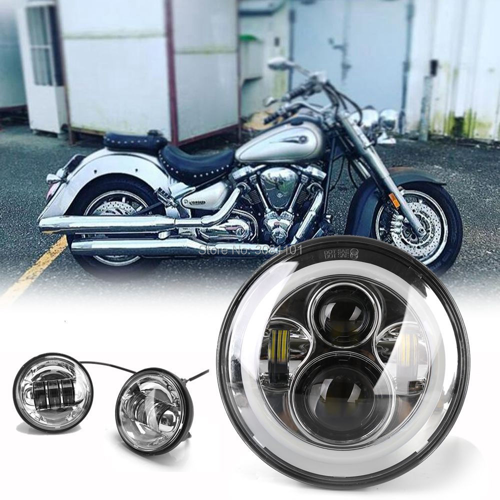 Set 4.5 inç Krom LED Sis Işık + 30 W/40 W Led far angel eyes ile Krom 7 inç 2005-2007 Harley-Davidson için Softail