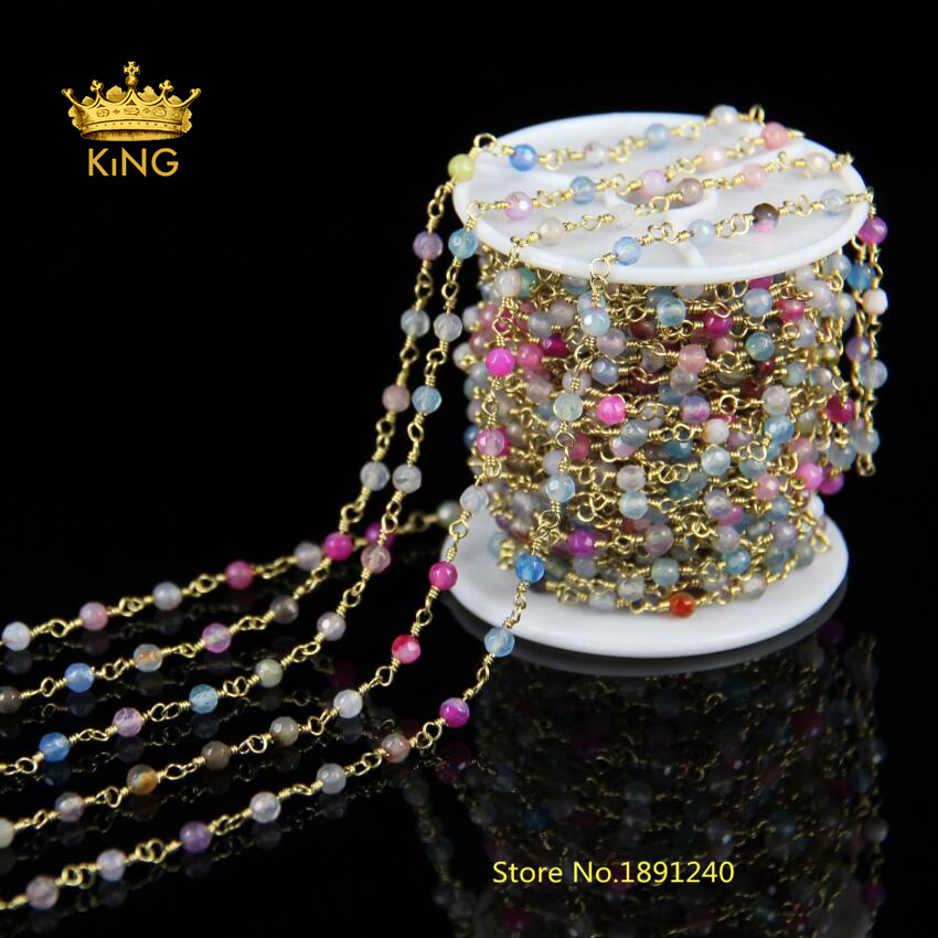 4mm Faceted Round Beads Ag ate Chains,Bronze Plated Wire Wrapped Mix Color Ag ate Beads Rosary Chains Woman Sweater HX065