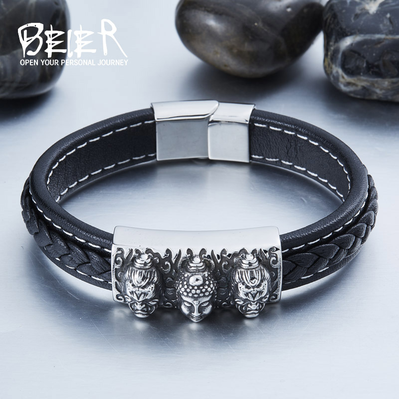 BEIER Wholesale Dropshipping Man&39;s High Quality Genes Leather Simple Style 3 Buddha Bracelet Bangle For Man BC-L017